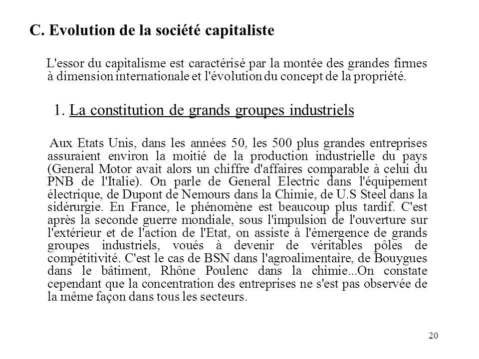20 C. Evolution de la société capitaliste L'essor du capitalisme est caractérisé par la montée des grandes firmes à dimension internationale et l'évol