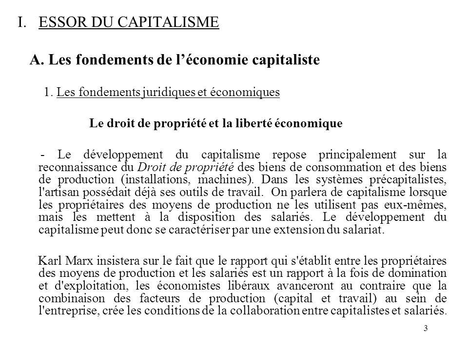 3 I.ESSOR DU CAPITALISME A. Les fondements de léconomie capitaliste 1. Les fondements juridiques et économiques Le droit de propriété et la liberté éc