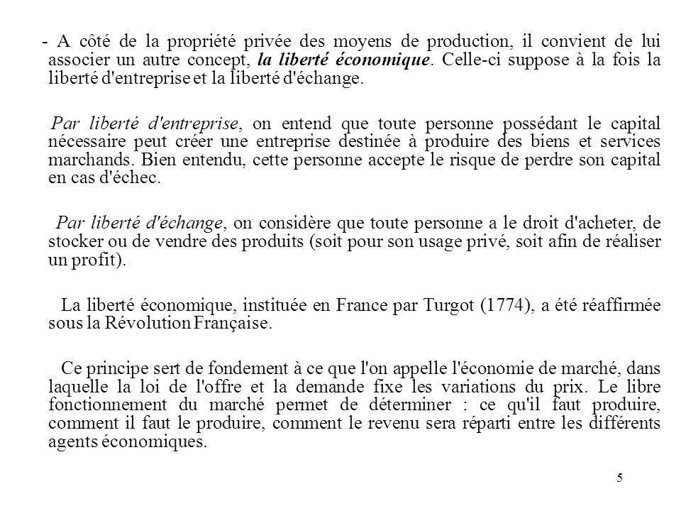 5 - A côté de la propriété privée des moyens de production, il convient de lui associer un autre concept, la liberté économique. Celle-ci suppose à la