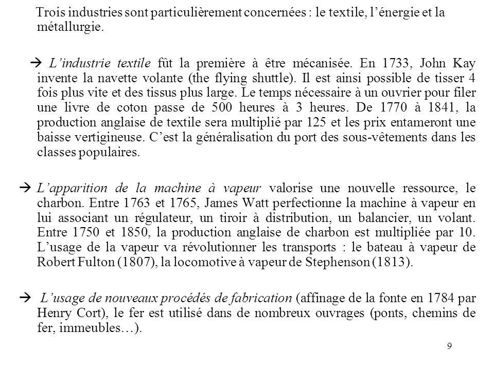 9 Trois industries sont particulièrement concernées : le textile, lénergie et la métallurgie. Lindustrie textile fût la première à être mécanisée. En