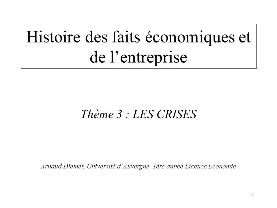 1 Histoire des faits économiques et de lentreprise Thème 3 : LES CRISES Arnaud Diemer, Université dAuvergne, 1ère année Licence Economie