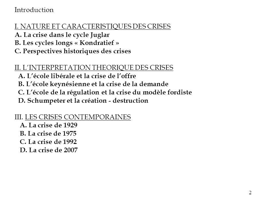2 Introduction I. NATURE ET CARACTERISTIQUES DES CRISES A. La crise dans le cycle Juglar B. Les cycles longs « Kondratief » C. Perspectives historique