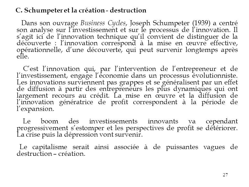 27 C. Schumpeter et la création - destruction Dans son ouvrage Business Cycles, Joseph Schumpeter (1939) a centré son analyse sur linvestissement et s