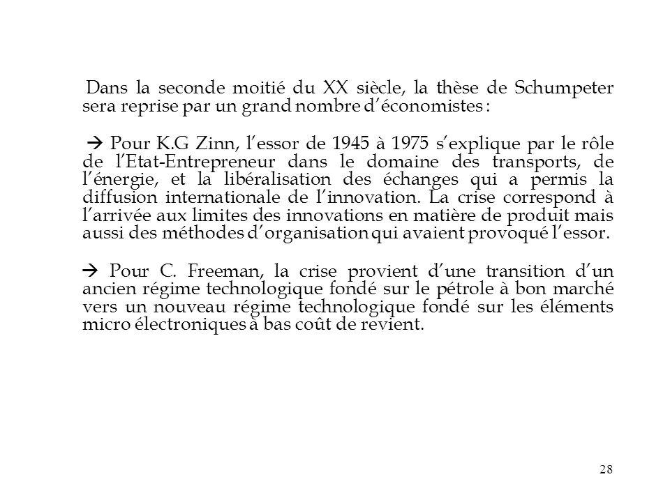 28 Dans la seconde moitié du XX siècle, la thèse de Schumpeter sera reprise par un grand nombre déconomistes : Pour K.G Zinn, lessor de 1945 à 1975 se