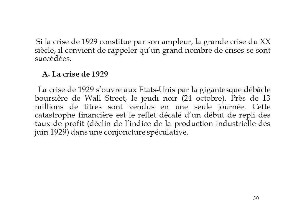 30 Si la crise de 1929 constitue par son ampleur, la grande crise du XX siècle, il convient de rappeler quun grand nombre de crises se sont succédées.