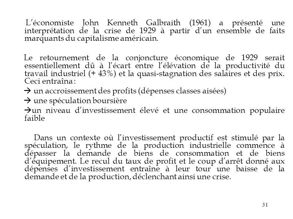 31 Léconomiste John Kenneth Galbraith (1961) a présenté une interprétation de la crise de 1929 à partir dun ensemble de faits marquants du capitalisme