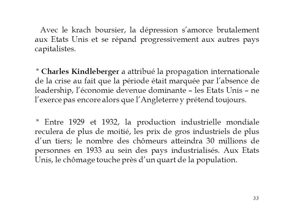 33 Avec le krach boursier, la dépression samorce brutalement aux Etats Unis et se répand progressivement aux autres pays capitalistes. * Charles Kindl