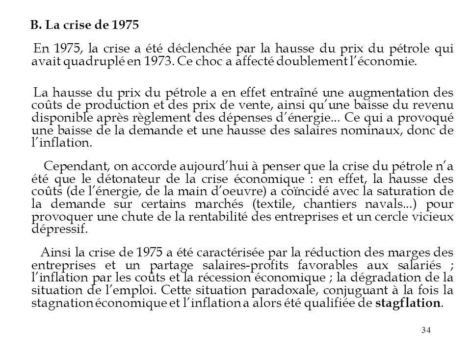 34 B. La crise de 1975 En 1975, la crise a été déclenchée par la hausse du prix du pétrole qui avait quadruplé en 1973. Ce choc a affecté doublement l