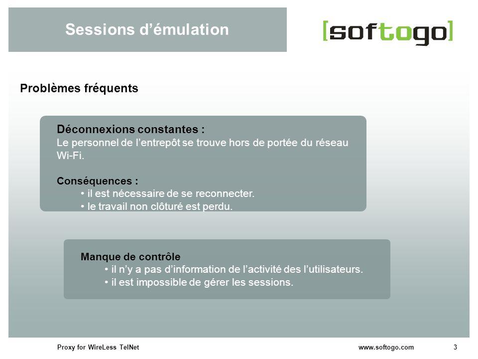 3Proxy for WireLess TelNet www.softogo.com Sessions démulation Problèmes fréquents Déconnexions constantes : Le personnel de lentrepôt se trouve hors