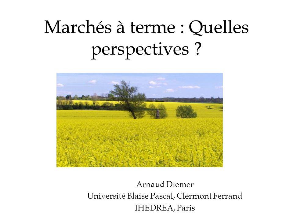 Marchés à terme : Quelles perspectives ? Arnaud Diemer Université Blaise Pascal, Clermont Ferrand IHEDREA, Paris