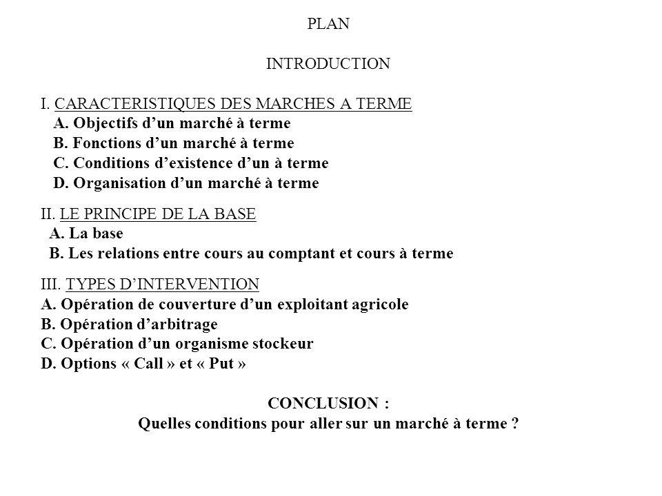 PLAN INTRODUCTION I. CARACTERISTIQUES DES MARCHES A TERME A. Objectifs dun marché à terme B. Fonctions dun marché à terme C. Conditions dexistence dun