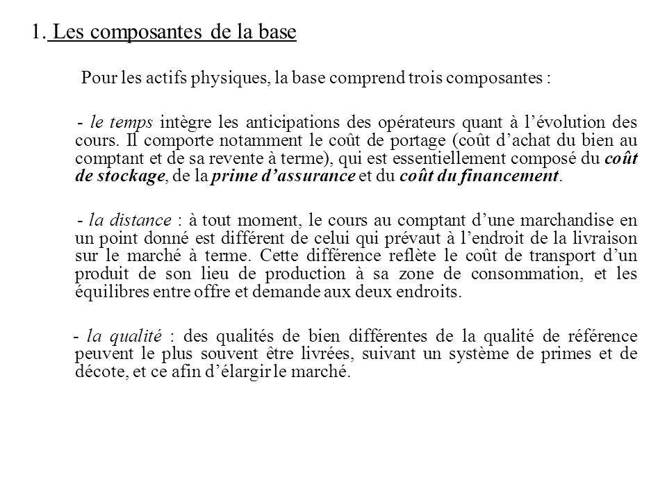 1. Les composantes de la base Pour les actifs physiques, la base comprend trois composantes : - le temps intègre les anticipations des opérateurs quan