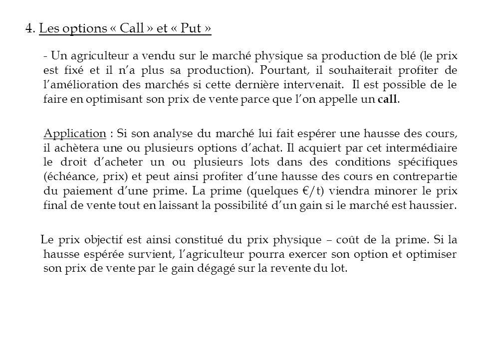 4. Les options « Call » et « Put » - Un agriculteur a vendu sur le marché physique sa production de blé (le prix est fixé et il na plus sa production)