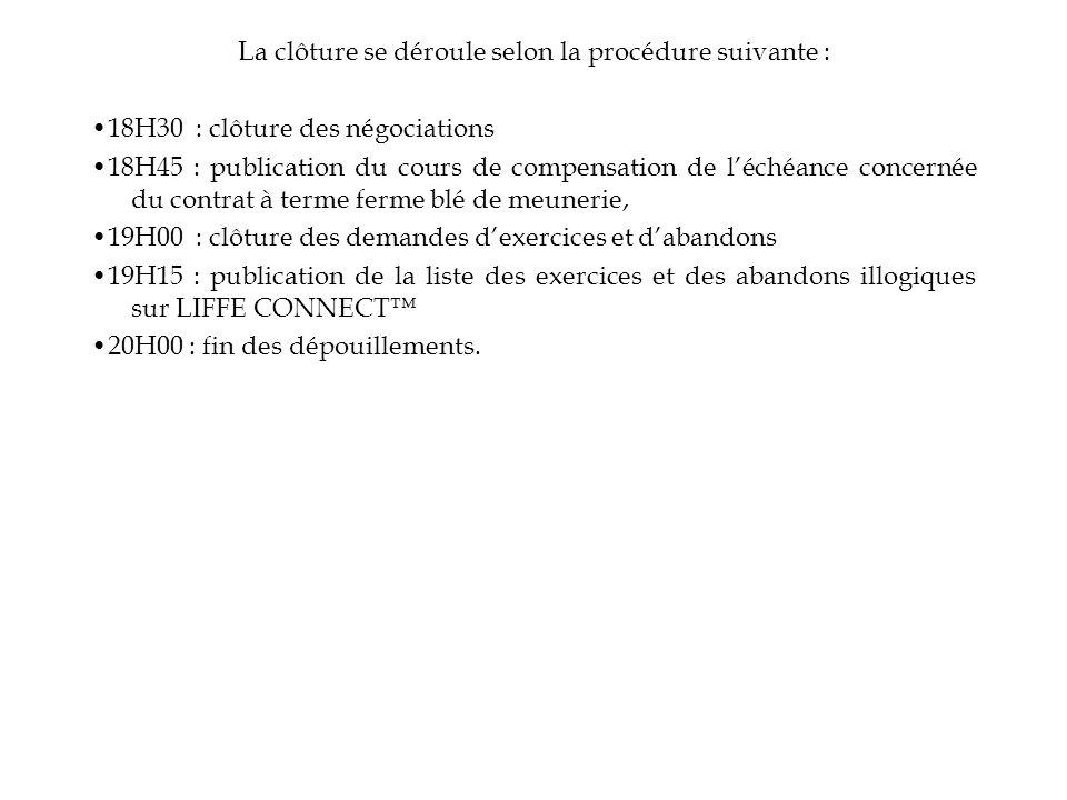 La clôture se déroule selon la procédure suivante : 18H30 : clôture des négociations 18H45 : publication du cours de compensation de léchéance concern