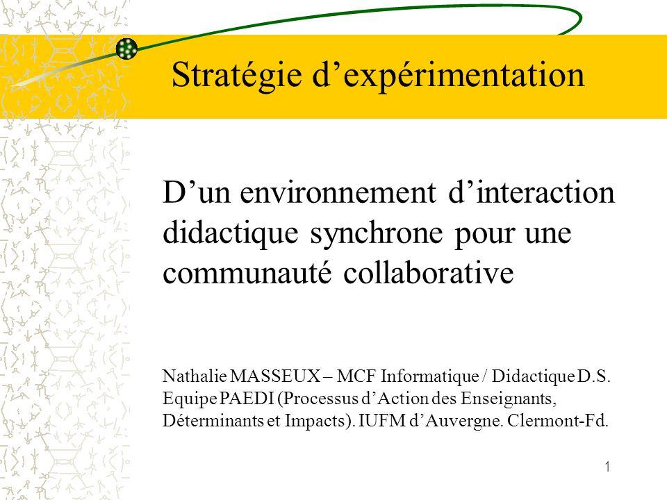 1 Dun environnement dinteraction didactique synchrone pour une communauté collaborative Stratégie dexpérimentation Nathalie MASSEUX – MCF Informatique / Didactique D.S.