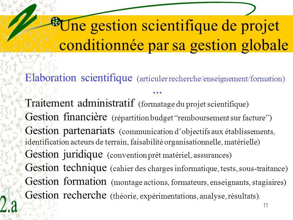 11 Elaboration scientifique (articuler recherche/enseignement/formation) … Traitement administratif (formatage du projet scientifique) Gestion financi