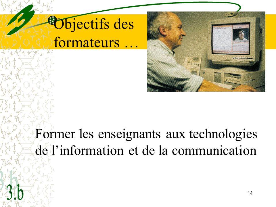 14 Former les enseignants aux technologies de linformation et de la communication Objectifs des formateurs …