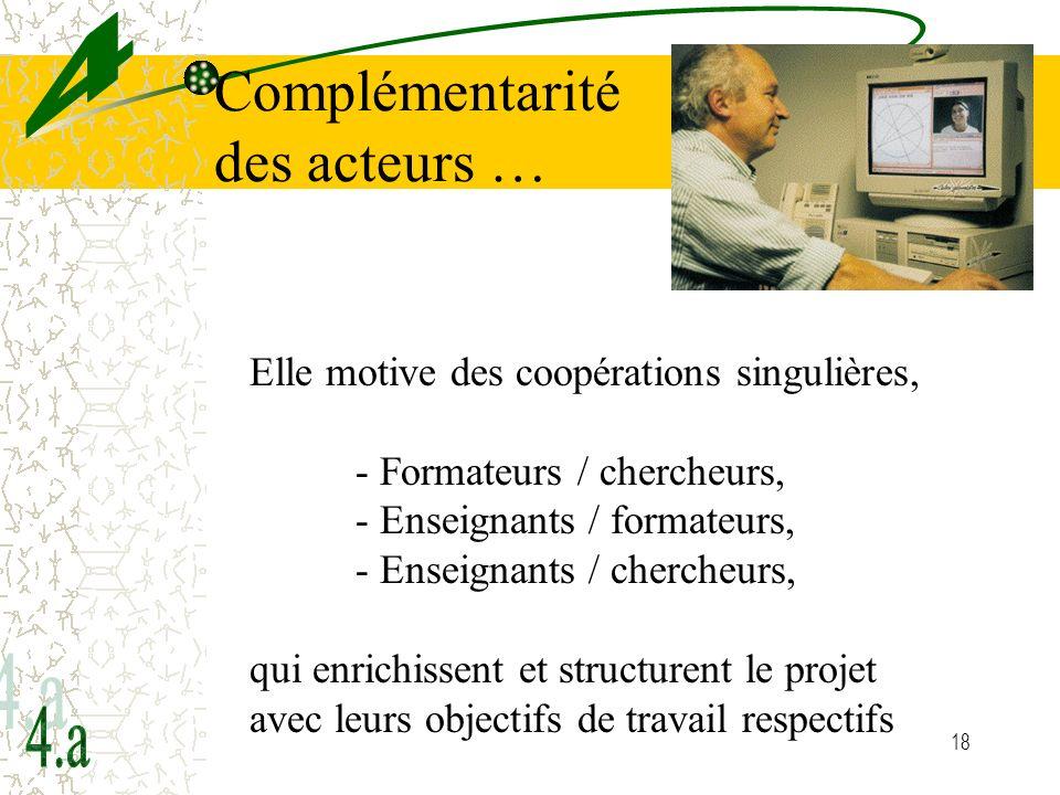 18 Complémentarité des acteurs … Elle motive des coopérations singulières, - Formateurs / chercheurs, - Enseignants / formateurs, - Enseignants / cher