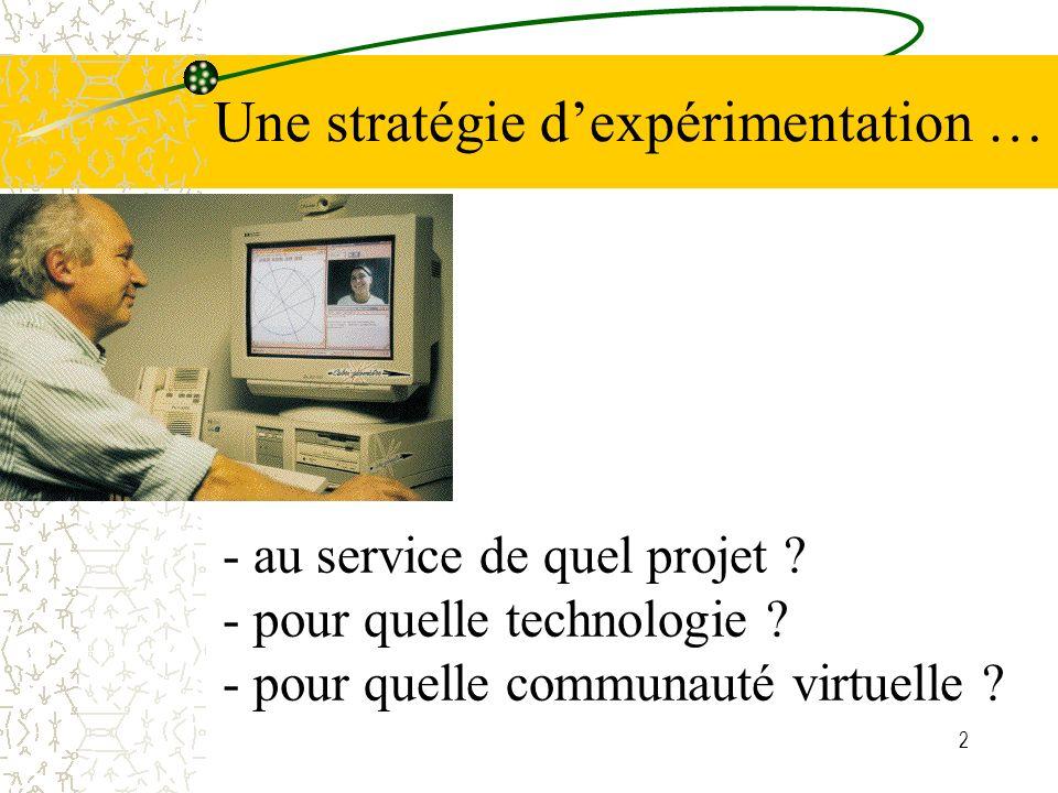 2 - au service de quel projet ? - pour quelle technologie ? - pour quelle communauté virtuelle ? Une stratégie dexpérimentation …