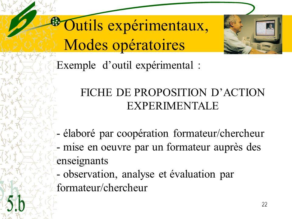 22 Exemple doutil expérimental : FICHE DE PROPOSITION DACTION EXPERIMENTALE - élaboré par coopération formateur/chercheur - mise en oeuvre par un form