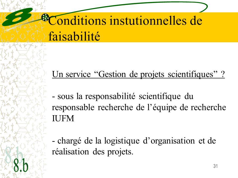 31 Conditions instutionnelles de faisabilité Un service Gestion de projets scientifiques ? - sous la responsabilité scientifique du responsable recher