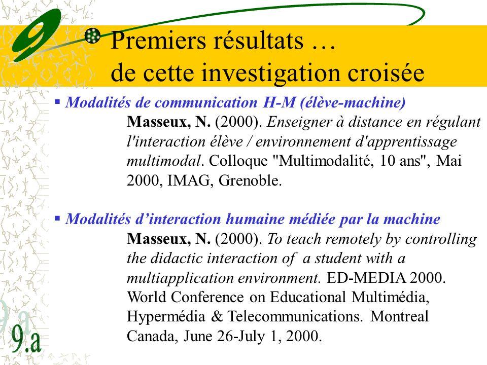 32 Premiers résultats … de cette investigation croisée Modalités de communication H-M (élève-machine) Masseux, N. (2000). Enseigner à distance en régu