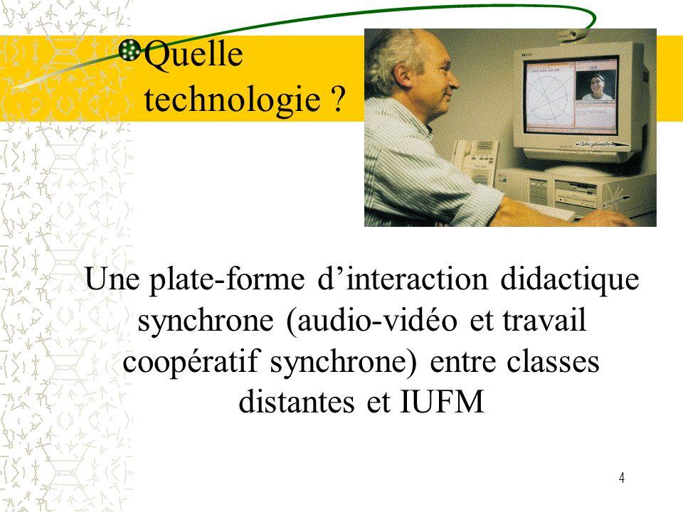 4 Une plate-forme dinteraction didactique synchrone (audio-vidéo et travail coopératif synchrone) entre classes distantes et IUFM Quelle technologie ?
