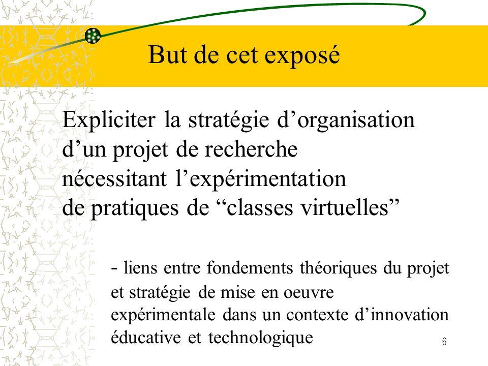 6 Expliciter la stratégie dorganisation dun projet de recherche nécessitant lexpérimentation de pratiques de classes virtuelles - liens entre fondements théoriques du projet et stratégie de mise en oeuvre expérimentale dans un contexte dinnovation éducative et technologique But de cet exposé