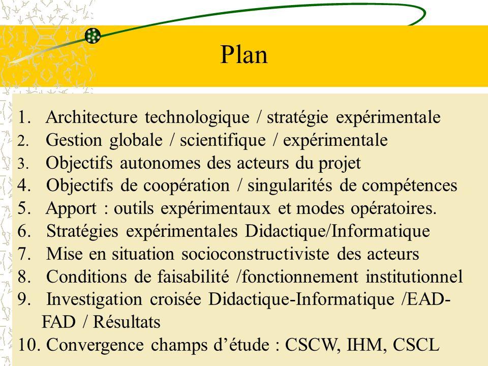 7 Plan 1. Architecture technologique / stratégie expérimentale 2. Gestion globale / scientifique / expérimentale 3. Objectifs autonomes des acteurs du