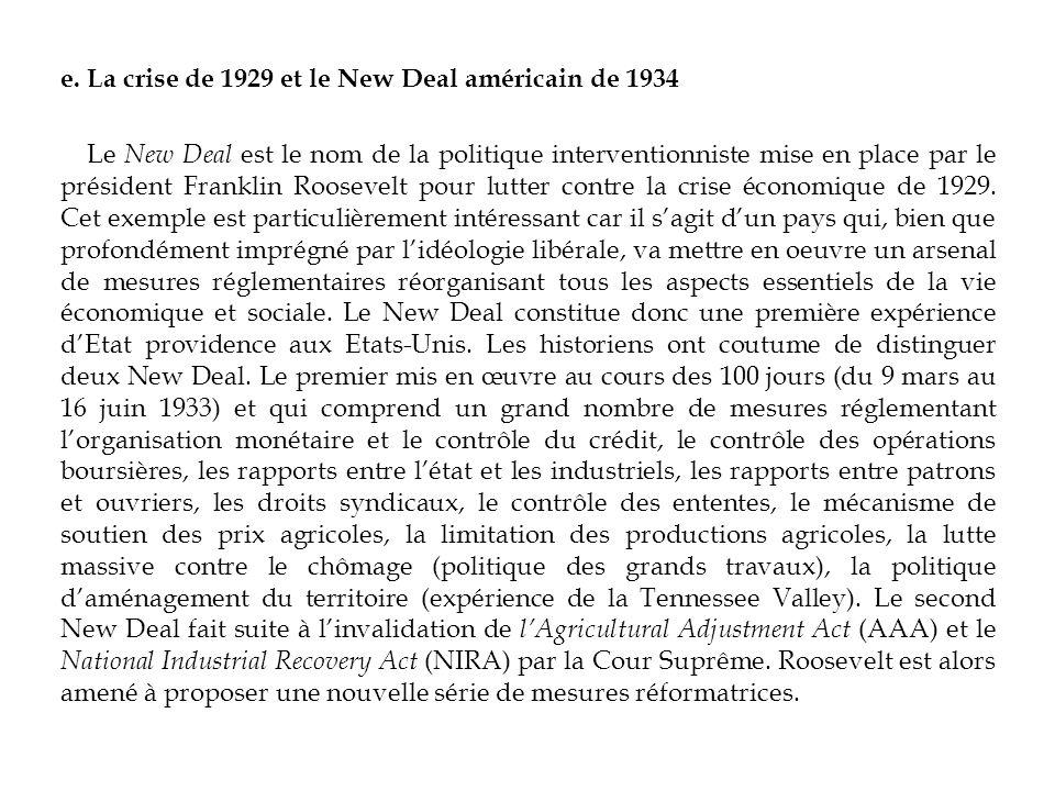 e. La crise de 1929 et le New Deal américain de 1934 Le New Deal est le nom de la politique interventionniste mise en place par le président Franklin