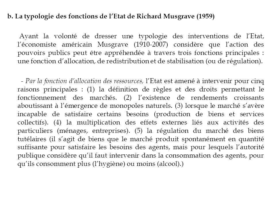 b. La typologie des fonctions de lEtat de Richard Musgrave (1959) Ayant la volonté de dresser une typologie des interventions de lEtat, léconomiste am
