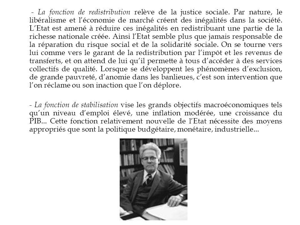 - La fonction de redistribution relève de la justice sociale. Par nature, le libéralisme et léconomie de marché créent des inégalités dans la société.