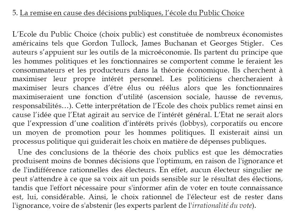 5. La remise en cause des décisions publiques, lécole du Public Choice LEcole du Public Choice (choix public) est constituée de nombreux économistes a