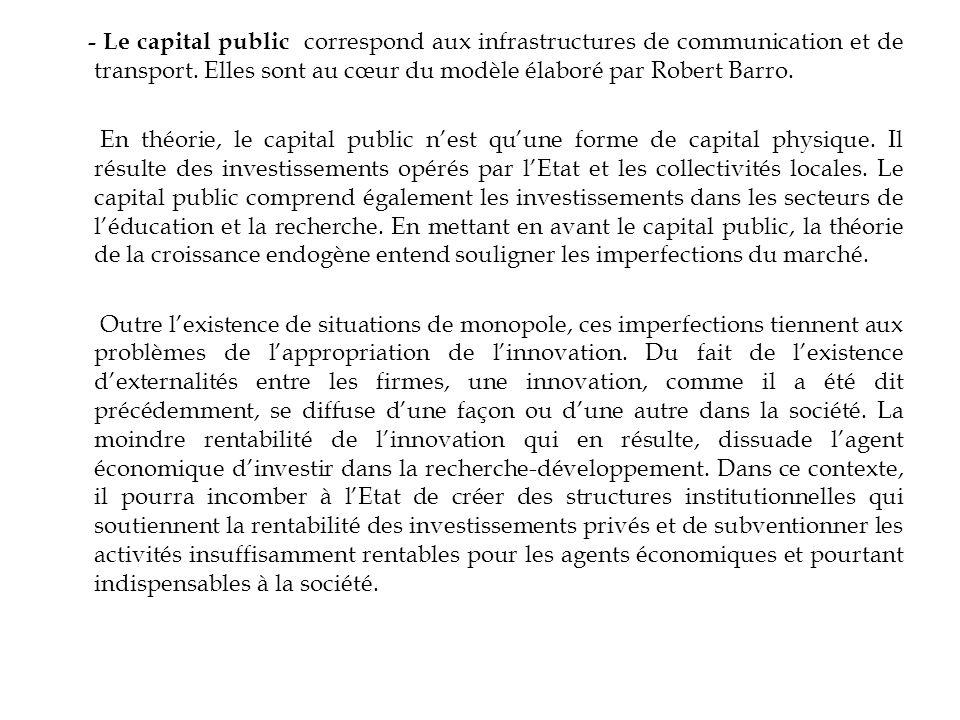 - Le capital public correspond aux infrastructures de communication et de transport. Elles sont au cœur du modèle élaboré par Robert Barro. En théorie