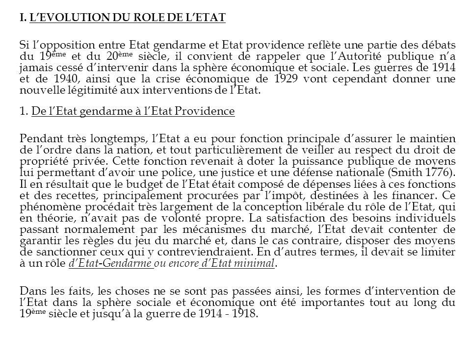 I. LEVOLUTION DU ROLE DE LETAT Si lopposition entre Etat gendarme et Etat providence reflète une partie des débats du 19 ème et du 20 ème siècle, il c