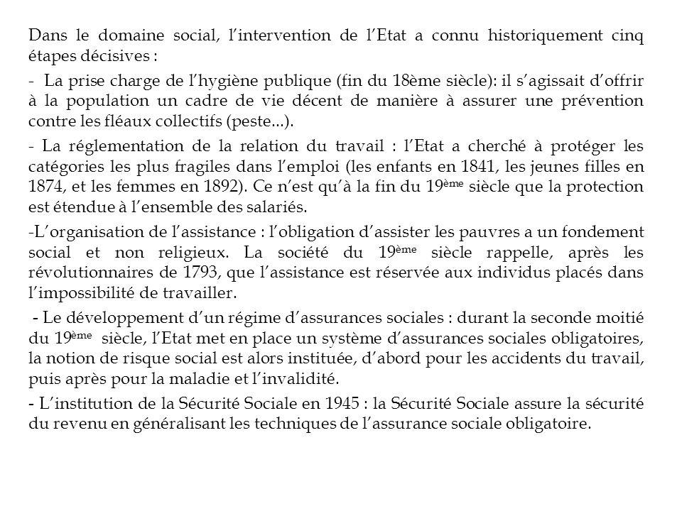 Dans le domaine social, lintervention de lEtat a connu historiquement cinq étapes décisives : - La prise charge de lhygiène publique (fin du 18ème siè