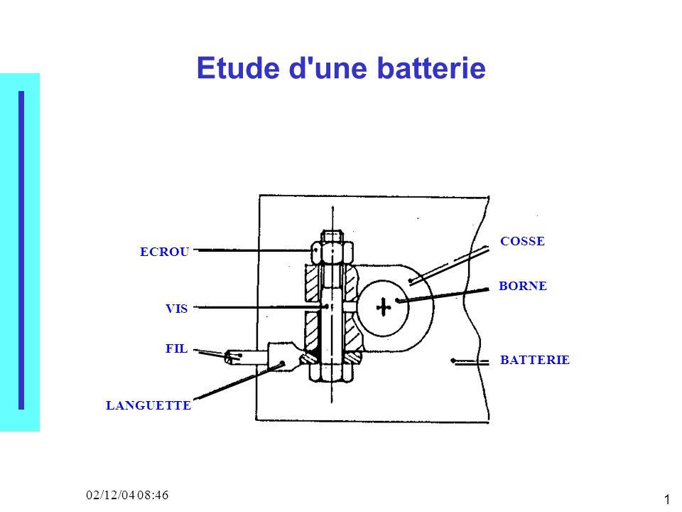 1 02/12/04 08:46 Etude d une batterie COSSE BORNE BATTERIE VIS ECROU FIL LANGUETTE