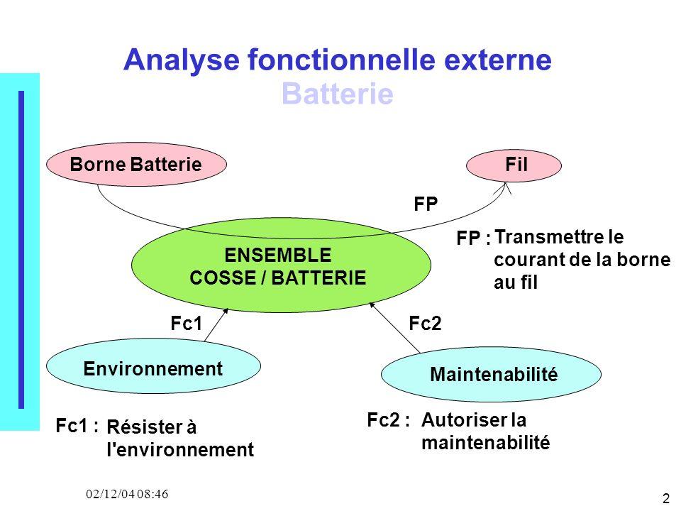 2 02/12/04 08:46 ENSEMBLE COSSE / BATTERIE Environnement Maintenabilité Fil FP Fc1Fc2 Analyse fonctionnelle externe Batterie FP : Transmettre le courant de la borne au fil Fc1 : Résister à l environnement Fc2 :Autoriser la maintenabilité Borne Batterie