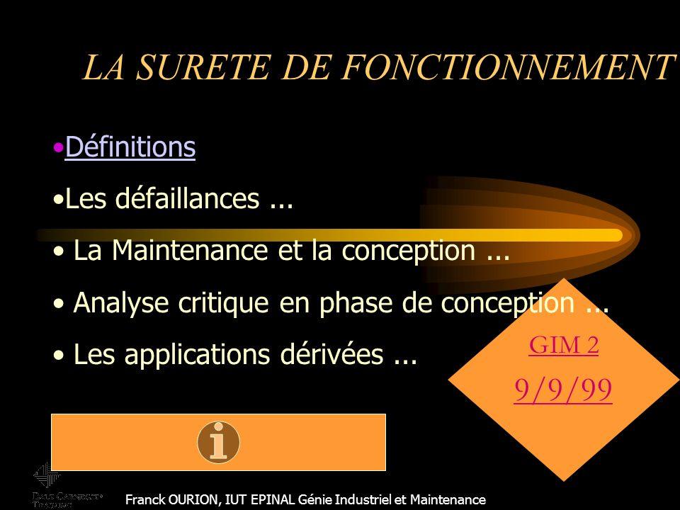 LA SURETE DE FONCTIONNEMENT Franck OURION, IUT EPINAL Génie Industriel et Maintenance GIM 2 9/9/99 Définitions Les défaillances...