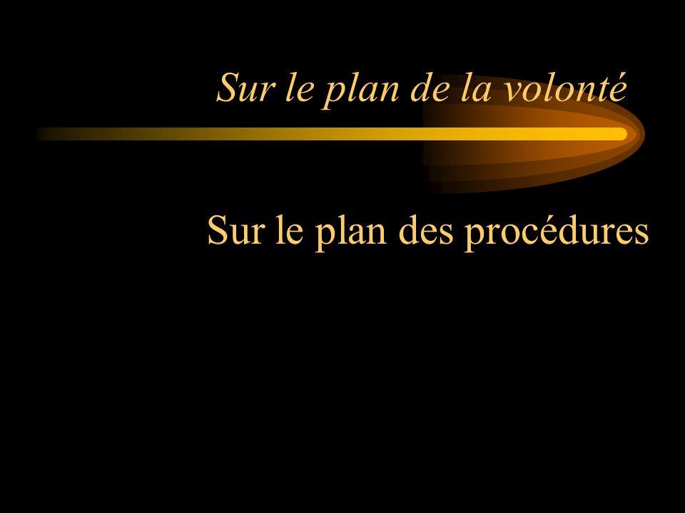 Sur le plan de la volonté Sur le plan des procédures