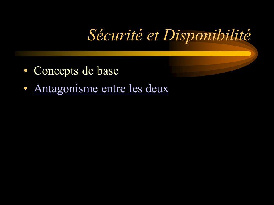 Sécurité et Disponibilité Concepts de base Antagonisme entre les deux