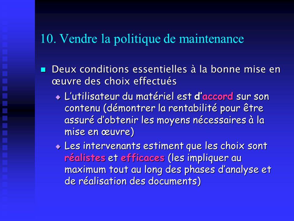 10. Vendre la politique de maintenance Deux conditions essentielles à la bonne mise en œuvre des choix effectués Deux conditions essentielles à la bon