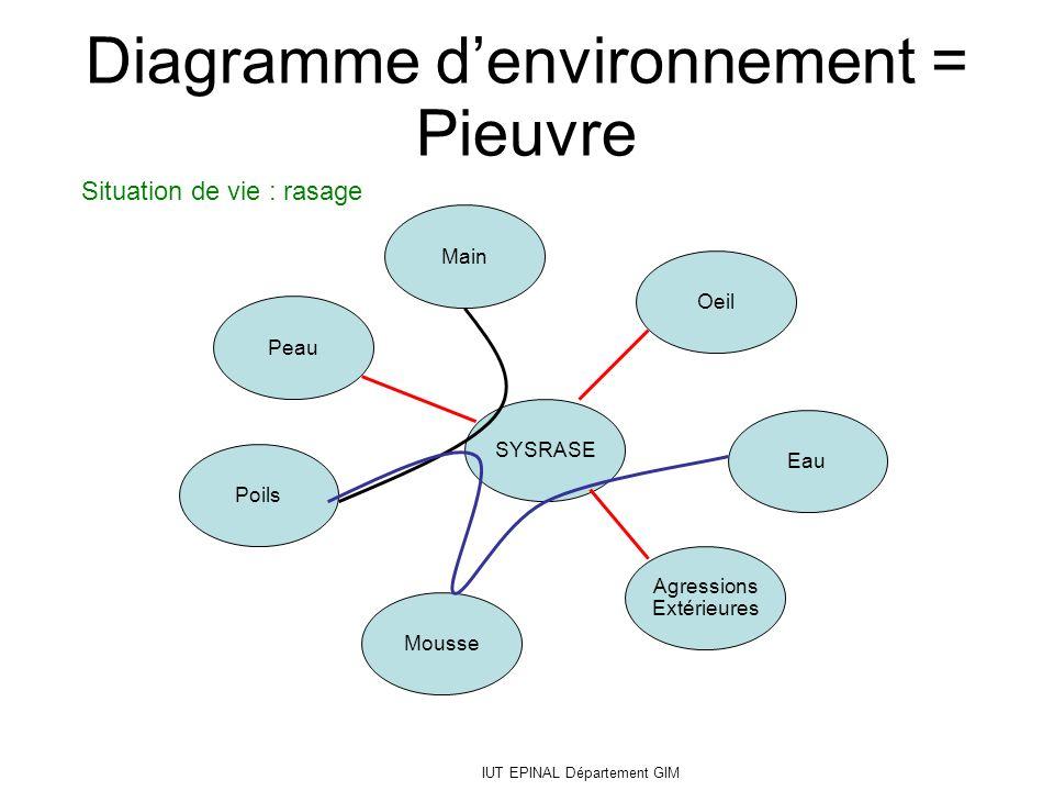 IUT EPINAL Département GIM SYSRASE Oeil Main Peau Poils Eau Agressions Extérieures Mousse Diagramme denvironnement = Pieuvre Situation de vie : rasage