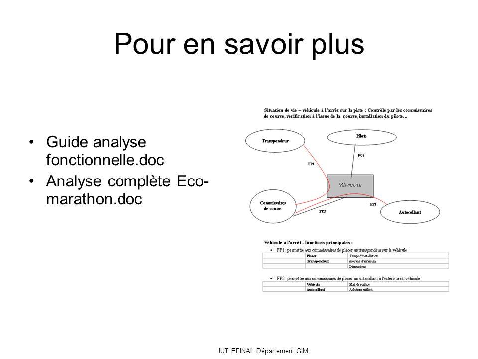IUT EPINAL Département GIM Pour en savoir plus Guide analyse fonctionnelle.doc Analyse complète Eco- marathon.doc