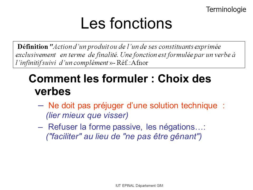 IUT EPINAL Département GIM Les fonctions Comment les formuler : Choix des verbes – Ne doit pas préjuger dune solution technique : (lier mieux que viss
