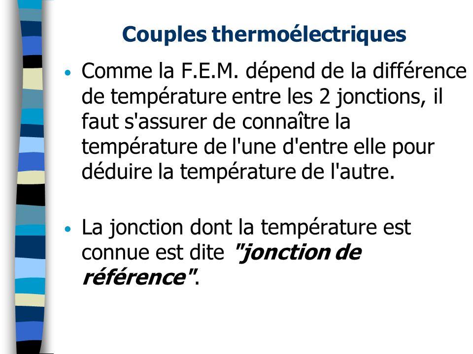 Couples thermoélectriques Comme la F.E.M. dépend de la différence de température entre les 2 jonctions, il faut s'assurer de connaître la température