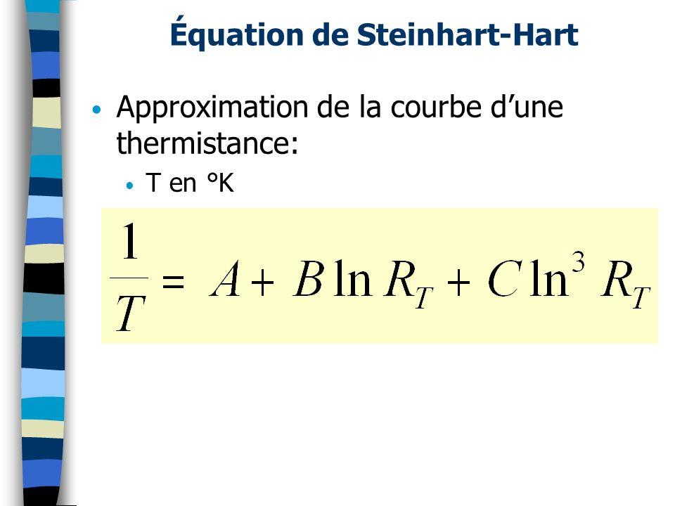 Équation de Steinhart-Hart Approximation de la courbe dune thermistance: T en °K