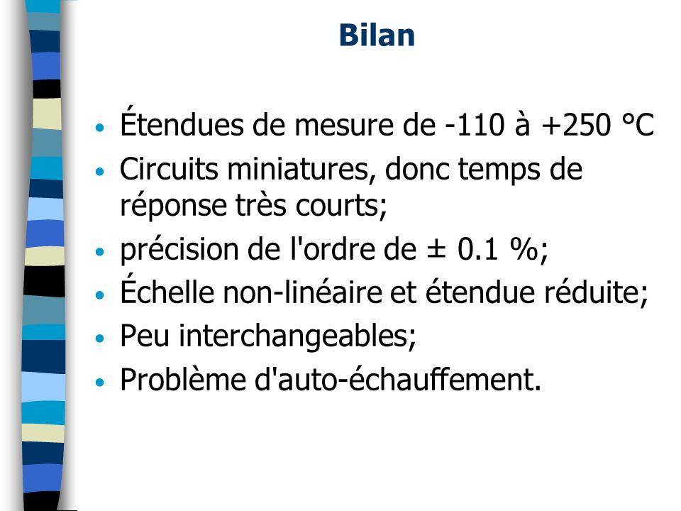 Bilan Étendues de mesure de -110 à +250 °C Circuits miniatures, donc temps de réponse très courts; précision de l'ordre de ± 0.1 %; Échelle non-linéai