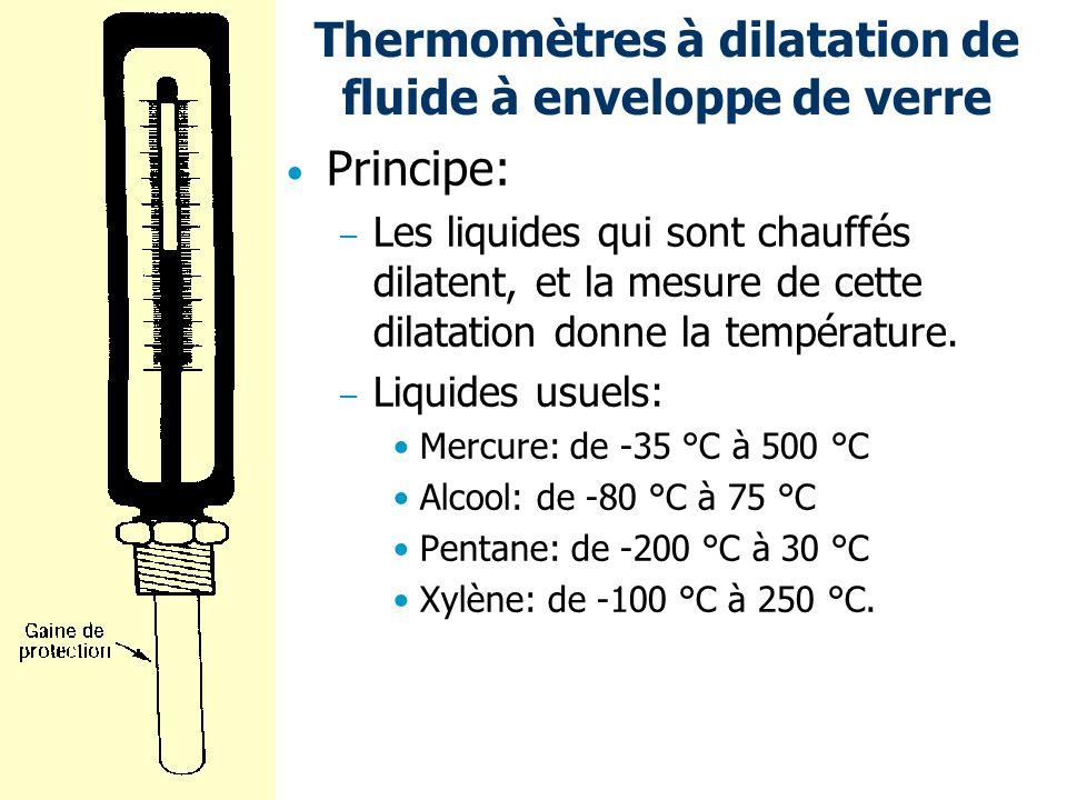 Thermomètres à dilatation de fluide à enveloppe de verre Principe: – Les liquides qui sont chauffés dilatent, et la mesure de cette dilatation donne l