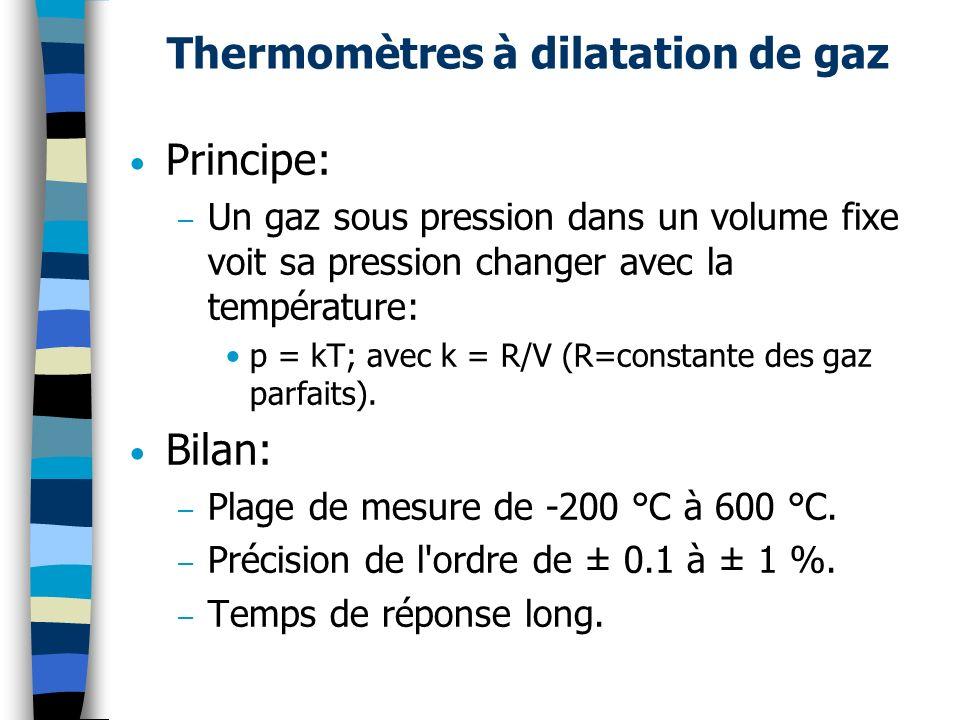 Thermomètres à dilatation de gaz Principe: – Un gaz sous pression dans un volume fixe voit sa pression changer avec la température: p = kT; avec k = R
